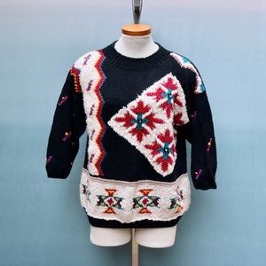 Vintage Southwestern Knit Graphic Sweater Sz M